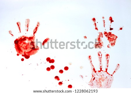 Red imprint of the bloody palm on a white background #1228062193