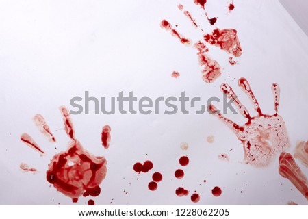 Red imprint of the bloody palm on a white background #1228062205