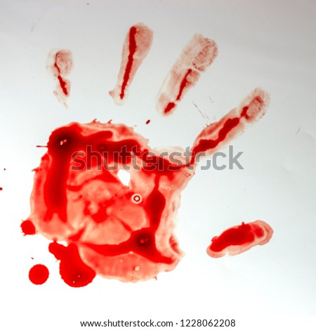 Red imprint of the bloody palm on a white background #1228062208