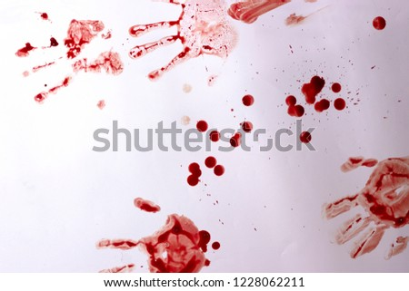 Red imprint of the bloody palm on a white background #1228062211