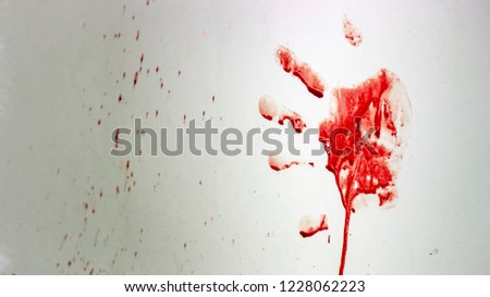 Red imprint of the bloody palm on a white background #1228062223
