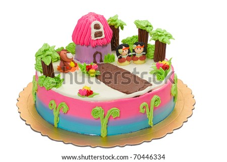 Red Indian camp, a lovely idea birthday cake for young children isolated on white