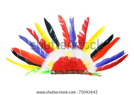 Red Indian Party Headgear on White Background