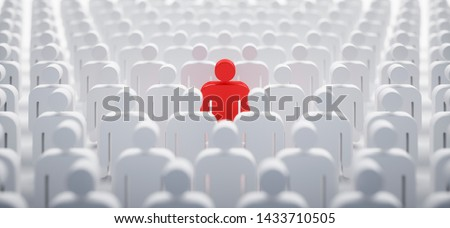 Red individual in the crowd - concept of leadership and excellence - 3D illustration Foto stock ©