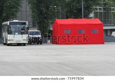 Red inflatable hospital tent in emergency situations #75997834
