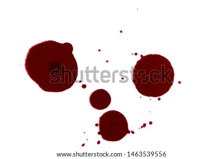 Red ink pen and ink lining on a white background. Ink spot. Red ink silhouette. #1463539556