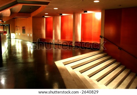 red interior with stairs