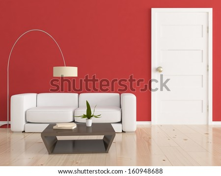 red interior with white furniture