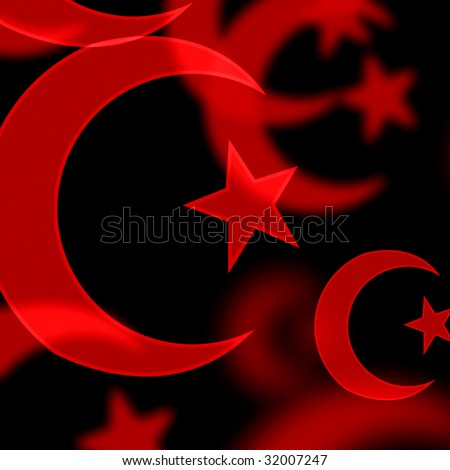 Red Islamic Symbols On A Black Background Stock Photo ...