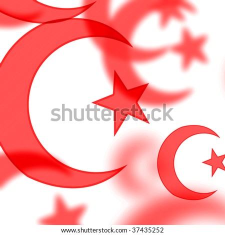 Red Islamic Symbols On A White Background Stock Photo ...