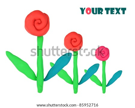 red isolated plasticine flowers on the white background