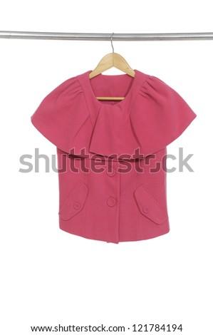 red jacket hanging on coat hanger