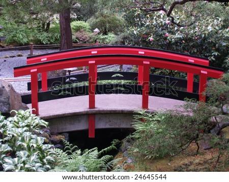 Red Japanese Garden Bridge red japanese garden bridge. red bridge in a japanese garden in