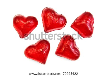 Red jelly in the form of hearts isolated on white background