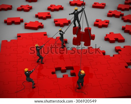 Red Jigsaw puzzle being built by teamwork. A great red jigsaw puzzle being built by a successful team.