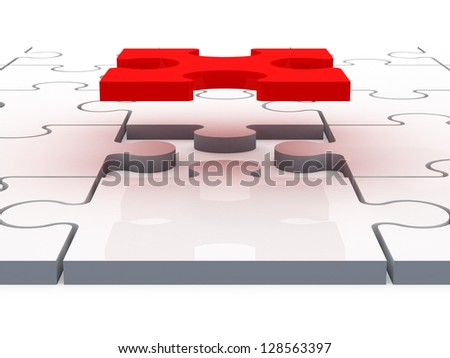 Red jigsaw puzzle piece completing or finishing white puzzle, isolated on white background.