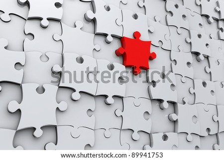 Red jigsaw puzzle piece in 3D in a wall of grey pieces