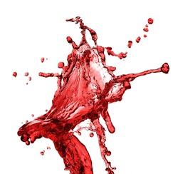 Red juice splash closeup isolated on white background