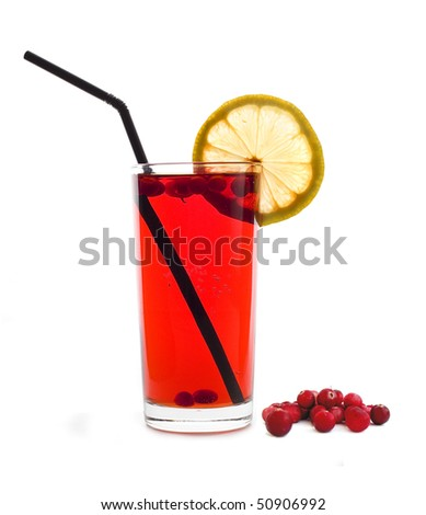 red juice with a slice of lemon and berries