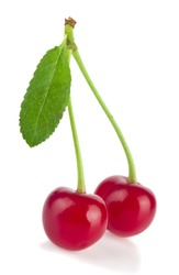 Red juicy cherries isolated on white background close-up.