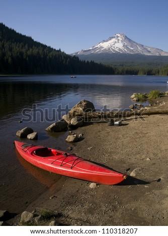 Red Kayak Boat On Trillium Lake At Mt Hood Cascade Range Oregon State