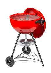 red kettle grill in front of white background