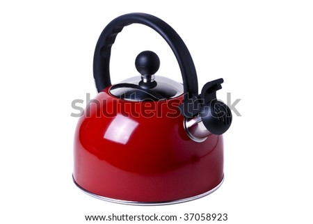 Red kettle isolated in white background