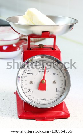red kitchen scale