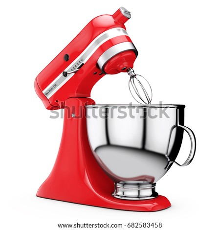 Red Kitchen Stand Food Mixer on a white background. 3d Rendering