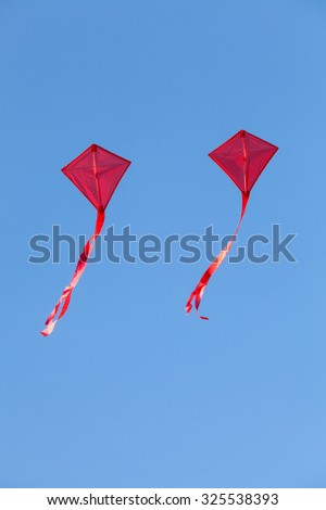 red kites flying in a beautiful blue sky