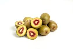 Red kiwifruit isolated on white background.