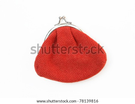 Red Knit Change Coin Purse with clasp