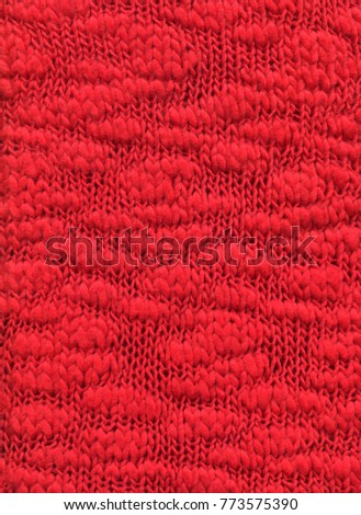 Red Knit Fabric For The Background Decorative Material From Boucle