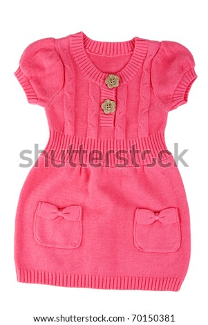 Red knitted baby dress on a white background
