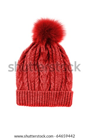 Red knitted hat isolated on white - stock photo