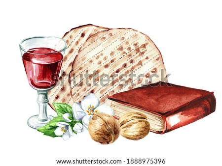 Red kosher wine in the glass, walnuts,Traditional jewish book Haggadah and matzah or matza. Passover seder meal. Pesach. Watercolor hand drawn illustration isolated on white background Photo stock ©