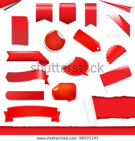 Red Labels And Stickers Set, Isolated On White Background