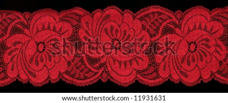 red  lace on black background
