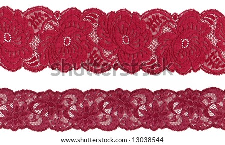 red  lace on white background