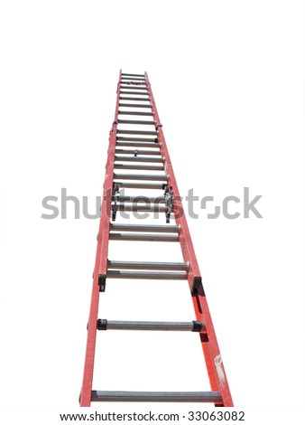 red ladder isolated against white background