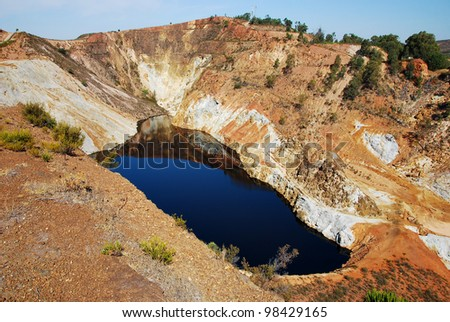 Red lake, acid mine rock drainage Andalusia coal mines spain