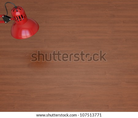 Red lamp and wooden work table. 3d rendering