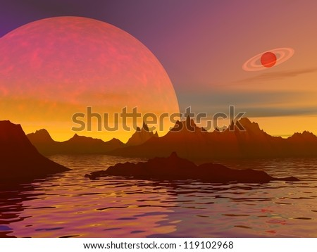 Red landscape with rocky mountains, water and planets