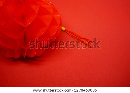 Red lantern with red background, red lantern Chinese New Year.