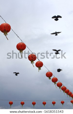 Red lanterns series with flying pigeons and cloudy sky in the background