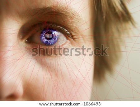 Red laser lines scanning the face and retina of a woman.  The iris is overlayed with a bar code.  Security, big brother, privacy concept image.