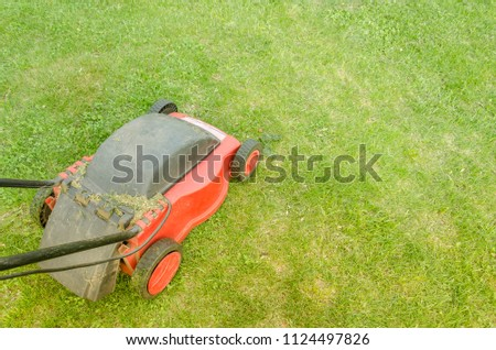 red lawn mower on the lawn/red lawn mower on the lawn. Top view #1124497826