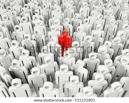 red leader standing with a many people