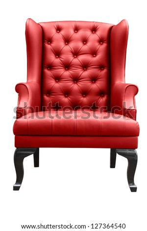 red leather armchair isolated on white. #127364540