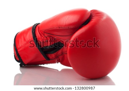 Red leather boxing glove